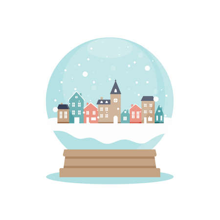 Snow globe with houses inside, vector illustration in flat style Çizim