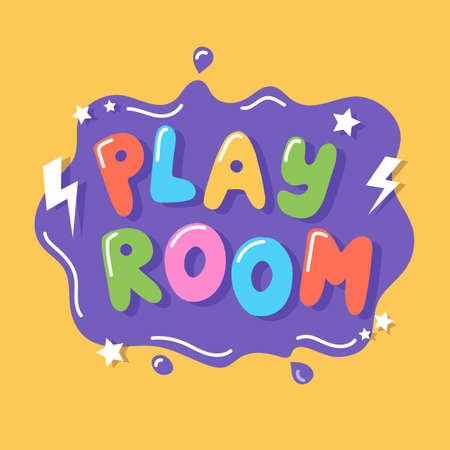 Play room, colorful sign template with hand drawn lettering, vector illustration Çizim
