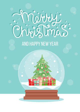 Snow globe with decorated christmas tree, vector illustration in flat style Çizim