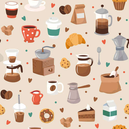 Cute coffee elements, seamless pattern, vector illustration in flat style