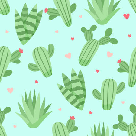 Cute cactus and succulents pattern, vector illustration in flat style