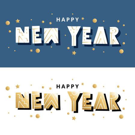 Happy new year lettering, card or banner template, vector illustration