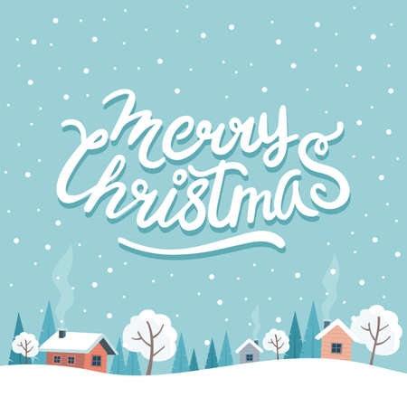 Christmas greeting card with cute landscape and lettering
