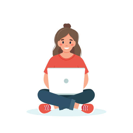 Woman with a laptop working, student or freelancer concept