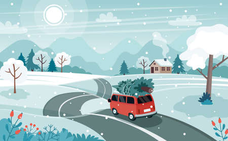 Car with christmas tree on the road. Cute winter landscape. illustration in flat style