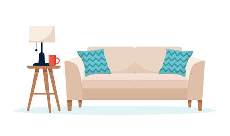 Modern sofa with a side table, cute interior illustration in flat style Stok Fotoğraf