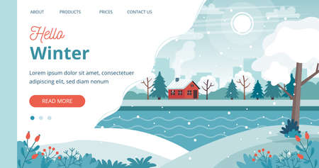 Cute winter landscape page template, illustration in flat style Stok Fotoğraf