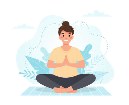 Woman practicing yoga. Vector illustration in flat style Çizim