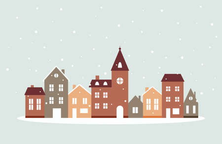 Winter houses with snow, cute vector illustration in flat style