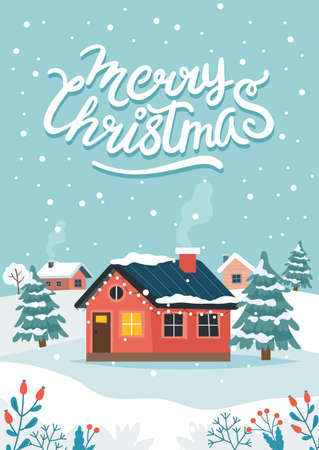 Christmas greeting card with cute house and lettering Stok Fotoğraf