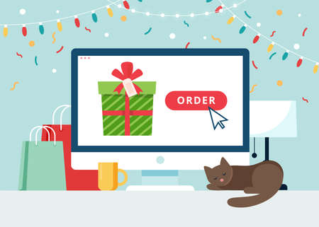 Online shopping gifts. Screen with present. Vector illustration in flat style Çizim