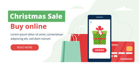 Christmas sale, online shopping gifts. Smartphone with gift and credit card. Vector illustration in flat style