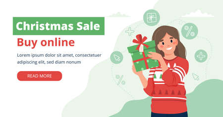 Christmas sale. Banner template with woman holding a gift. Vector illustration in flat style Çizim