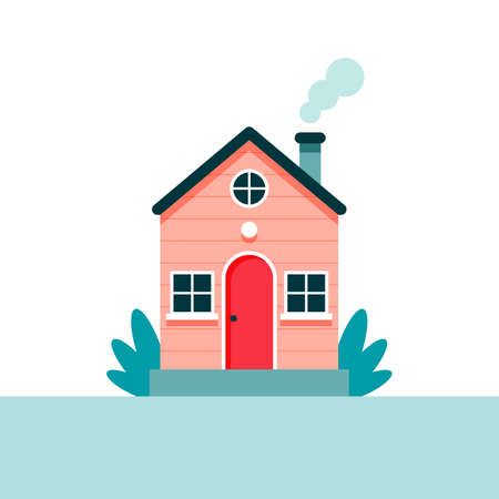 Cute house, vector illustration in flat style Çizim