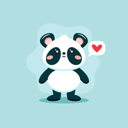 Cute panda character, vector illustration in flat style