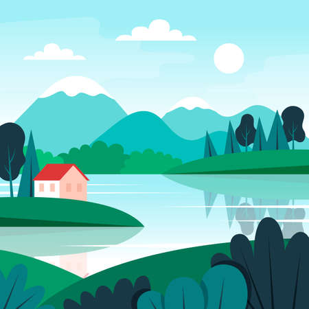 Cute landscape with small house, lake and mountains. Vector illustration in flat style