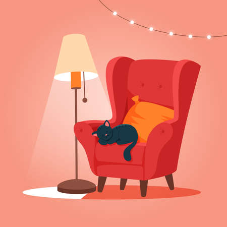 Cozy armchair with cat sleeping. Cute vector illustration