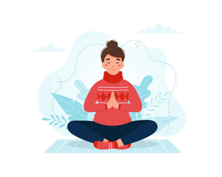 Woman practicing meditation. Vector illustration in flat style Çizim