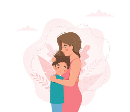 Mother s day greeting card. Mother and child hugging. Vector illustration concept in flat style Vektoros illusztráció