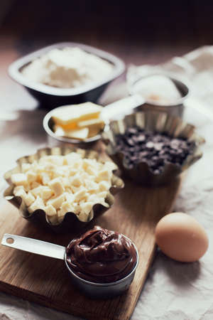 unprocessed: Food ingredients for nutella chocolate chip cookies. Stock Photo