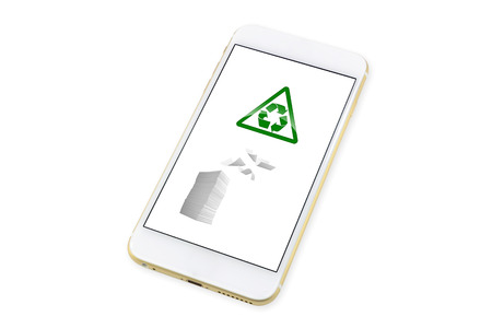 smartphone with Paper recycling icon on display. isolated on White background