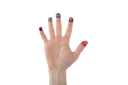 Colorful social media icon finger  on white background photo