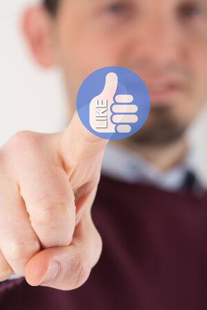 pressing: Man hand pressing like icon