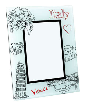 Beige photo frame with drawings of famous Italian objects. Two red words Italy and Venice written on it. In the middle is place for your photo photo
