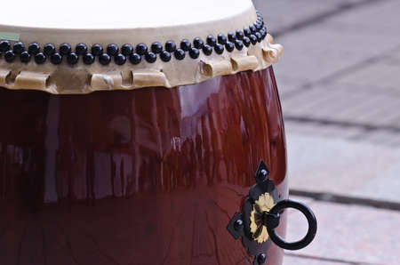 Traditional japanese percussion instrument Taiko or Wadaiko drum. Close shot. Stock fotó