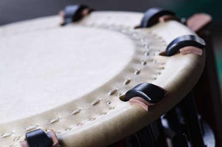Traditional japanese percussion instrument Taiko or Wadaiko drum. Close shot. Stok Fotoğraf