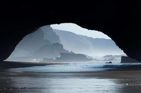 the great outdoors: Red archs on atlantic ocean coast in Marocco, Legzira beach