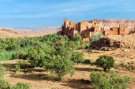 casbah: Moroccan Ksar. old fortified castle in desert