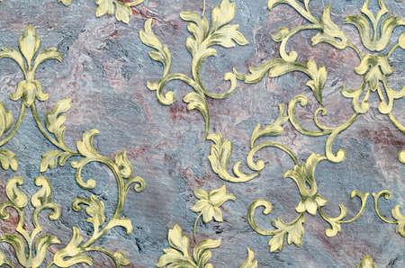 Seamless golden pattern on fabric as background. Foto de archivo