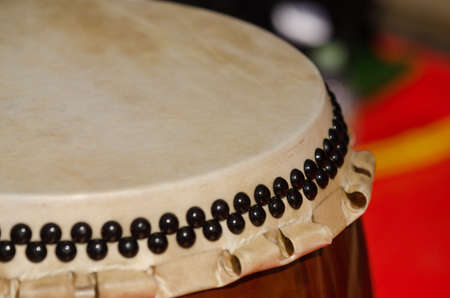 percussion instrument: Traditional japanese percussion instrument Taiko or Wadaiko drum. Close shot. Stock Photo