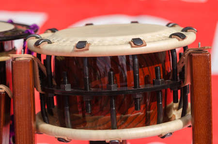 close shot: Traditional japanese percussion instrument Taiko or Wadaiko drum. Close shot. Stock Photo