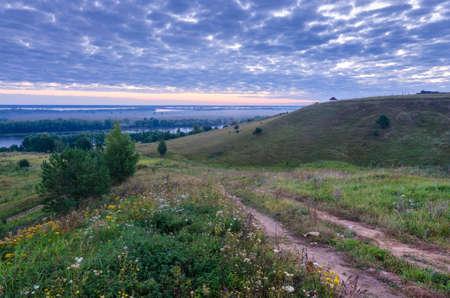 esenin: Beautiful landscape at Oka river and vicinity of Konstantinovo village, Ryazan region. This is the birthplace of Esenin Sergei Stock Photo