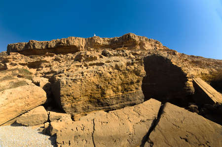 High cliff near the ocean in Morocco with seldom person on its edge