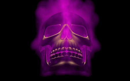 scaring: Skull looks up in colorful fire. Demonic sight. Scaring halloween picture Stock Photo