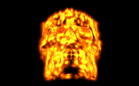 Skull looks up in colorful fire. Demonic sight. Scaring halloween picture Reklamní fotografie