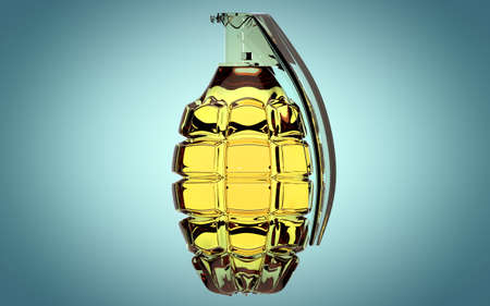 Hand grenade made of glass on beautiful blue background Stock Photo
