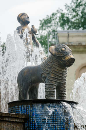 kutaisi: Fountain on central square of Kutaisi city in Georgia. Monuments of bronze animals. Tourists attraction. Stock Photo