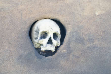 Halloween Skull. Spooky Halloween Skull set in hole in the wall Stock Photo