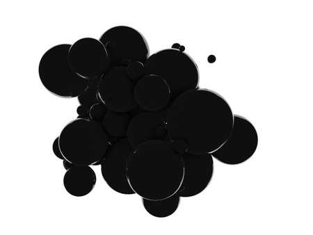 Abstract 3D black balls background. Black balls, oil bubbles, a tornado of black bubbles on white background. 3D rendering