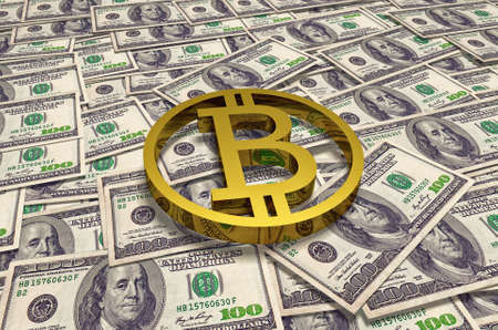 Gold bitcoin coin on background of hundred dollar banknotes on table. High quality 3D render.