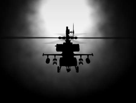 Silhouette of helicopter, soldiers rescue helicopter operations on sunset sky background. Copter in smog. 3D illustration