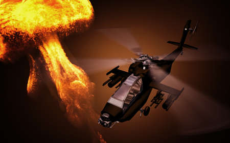 Silhouette of helicopter with explosion on background. Soldiers rescue helicopter operations. Copter in smog. 3D illustration
