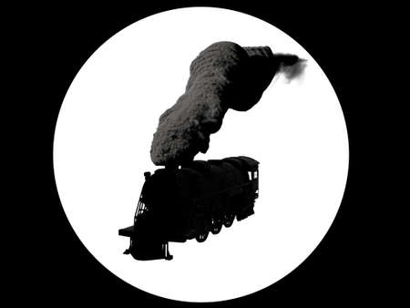 Silhouette logo of steam locomotive in black and white on white background. 3D illustration