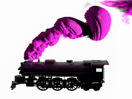 3D generated silhouette of steam locomotive in black and white on white background. Train puffing smoke from his tube. 版權商用圖片