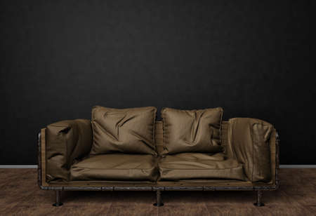 Loft interior mock up photo. Brown leather sofa. Minimalist style. Background photo with copy space for text. Black wall and wooden floor. 3d illustration. 版權商用圖片