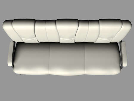 Modern white suede couch isolated on light background. Cutout object. Top view. 3d illustration 版權商用圖片